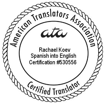 Koev ATA Spanish-English certification seal