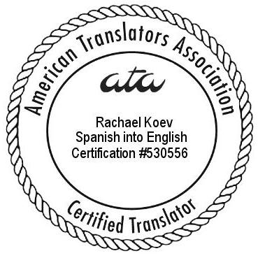 Koev ATA Spanish-English certification seal